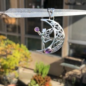 Jewelry - Amethyst Cab Fairy Moon Sterling Silver Pendant